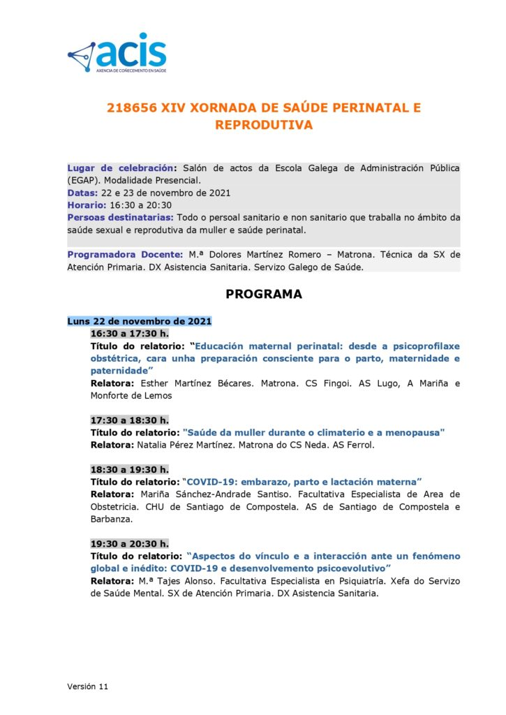 XIV Xornada Saude Perinatal Reprodutiva- programa_actividade_formativa_218656