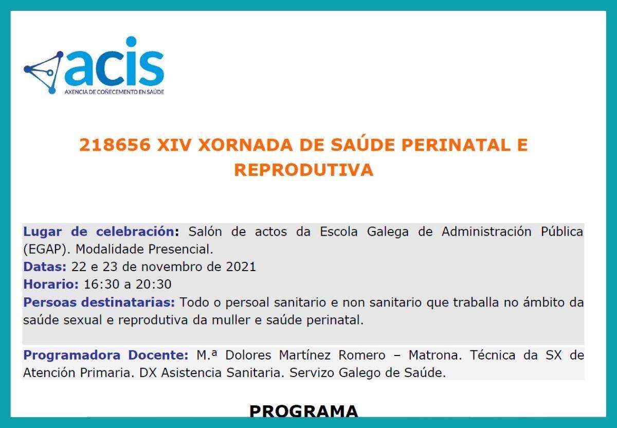 XIV Xornada de Saúde Perinatal e Reprodutiva novembro 2021